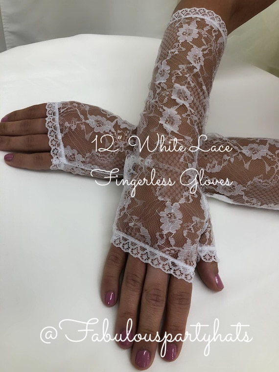 "Lace Gloves,White Lace Fingerless Gloves,12"" White"