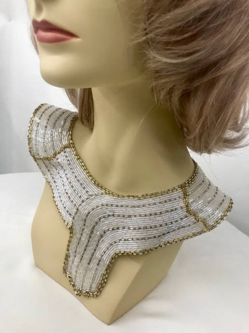 Yoke Applique  12\u201d Length /& 9\u201d Width Black W Gold And Silver Blue,Silver And Gold White Iridescent W Gold and Silver