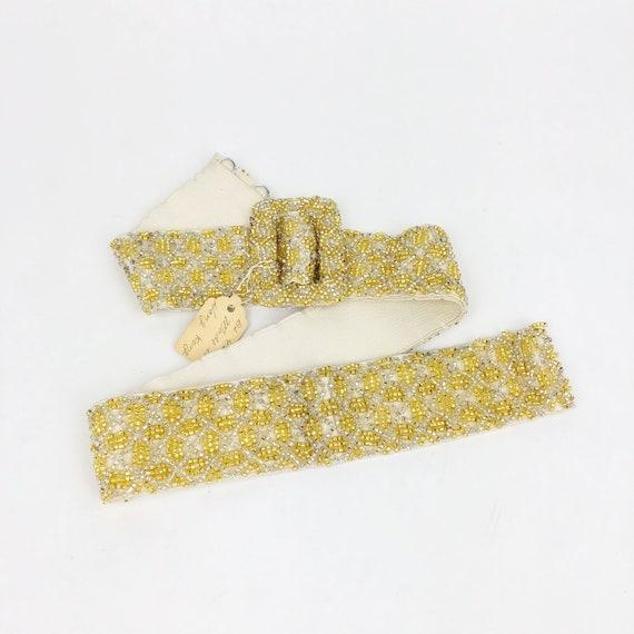 Vintage 1950s Deadstock Gold Beaded Belt, 50s Hoo… - image 1