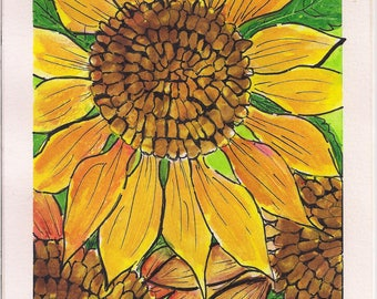 Three Sunflowers Watercolor Painting