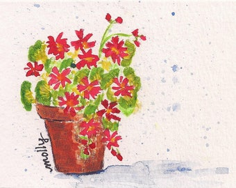 Original Watercolor Note Card - Geraniums