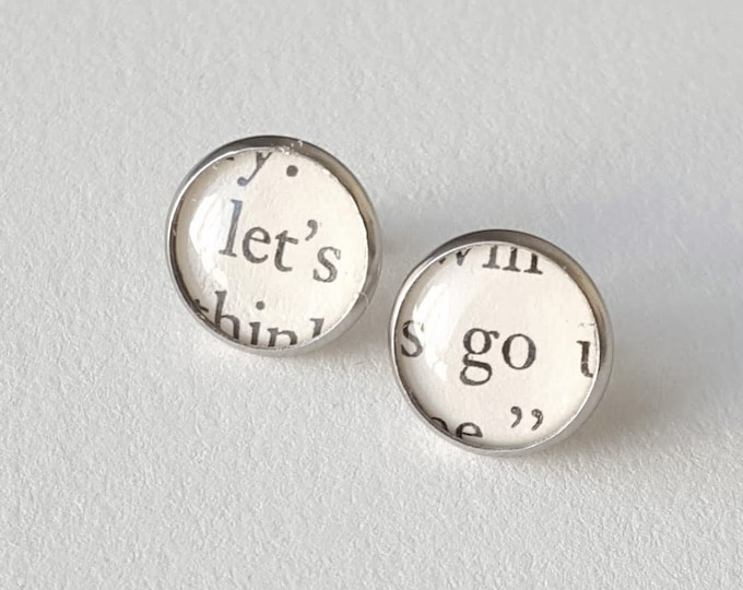 Let's Go Earrings - Stainless Steel - Positivity Earrings - Bookish Earrings - Vintage Book Pages Paper Earrings - Librarian Earrings