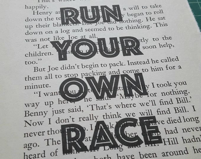 CLEARANCE - Run Your Own Race Print - Vintage Book Print - Motivational Quote