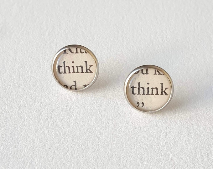 Think Earrings - Stainless Steel - Positivity Earrings - Bookish Earrings - Vintage Book Pages Paper Earrings - Librarian Earrings