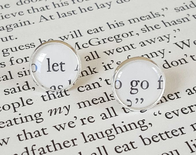 Let Go Earrings - Silver Plated - Positivity Earrings - Bookish Earrings - Vintage Book Pages Paper Earrings - Librarian Earrings