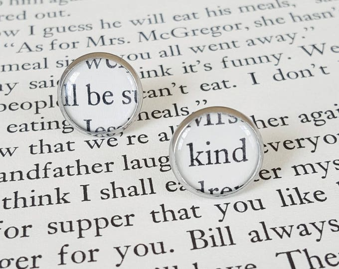 Be Kind Earrings - Stainless Steel - Positivity Earrings - Bookish Earrings - Vintage Book Pages Paper Earrings - Librarian Earrings