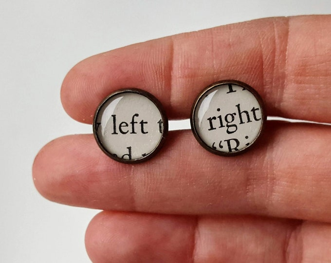 Word / Text Cufflinks - Left / Right - Antiqued Brass - Bookish Cufflinks - Vintage Book Pages - Bookish Cufflinks - Librarian Cufflinks