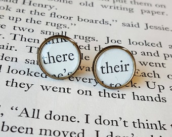 Good Grammar Earrings - Their / There - Antiqued Brass - Bookish Earrings - Vintage Book Pages - Bookish Jewelry - Librarian Earrings