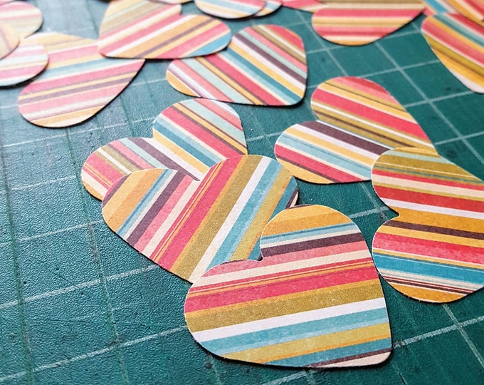60 Rainbow Stripes Paper Hearts - Valentines Decoration - Rainbow Hearts - Valentines Supplies - Table Decoration