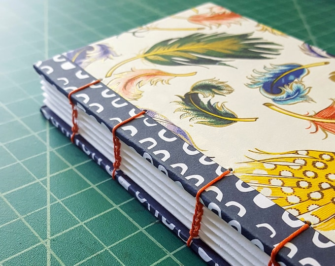 Feathers and Swirls Coptic Sewn Journal - Mixed Media Covers - Sketchbook - Notebook - Diary