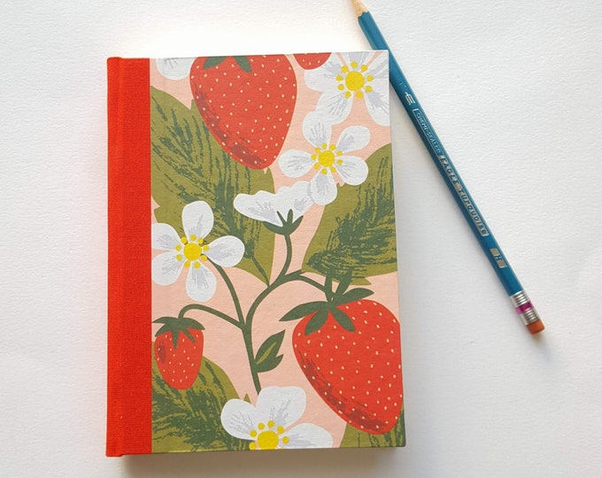 Strawberry Flowers Journal - Fruitful Strawberries Paper - Pregnancy Journal - Postpartum Journal - Daily Writing Journal - Diary