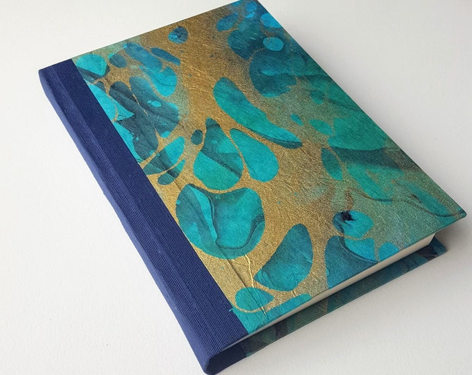 Teal and Gold Marbled Journal - Shades of Blue, Teal and Green - Double Marbled with Gold - Lined Journal - Diary - Travel Journal