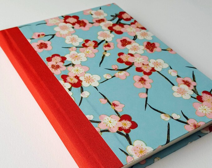 Cherry Blossom Journal - Floral Washi Paper - Red, Pink and White Flowers - Daily Writing Journal - Diary