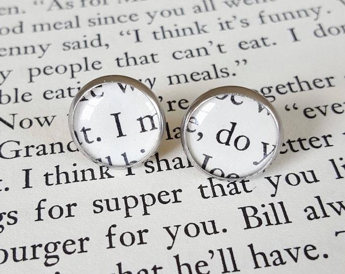 I Do Wedding Earrings - Stainless Steel - Bookish Earrings - Vintage Book Pages Paper Earrings - Bookish Jewelry - Librarian Earrings