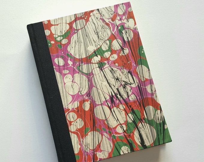 Marbled Journal - Hot Pink - Black and White Marbled Paper - Lined Journal - Diary - Travel Journal