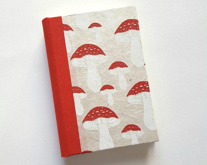 Red Toadstools Journal - Red Mushrooms Journal -  Small Journal with Mushrooms Pattern - Lined Journal - Diary - Travel Journal