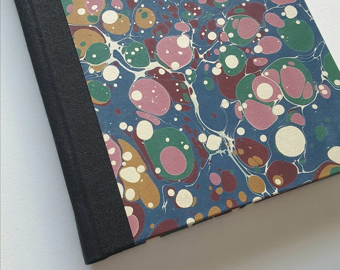 Marbled Journal - Blue, Green and Purple Marbled Paper - Traditional Marbled Paper - Marbled Book - Lined Journal - Diary - Travel Journal