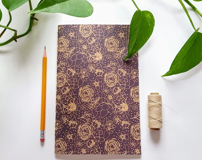 Garden Journal - Black and Tan Floral Design - Gardening Journal - Planting Diary - Plant Lady Journal - Harvest Tracker