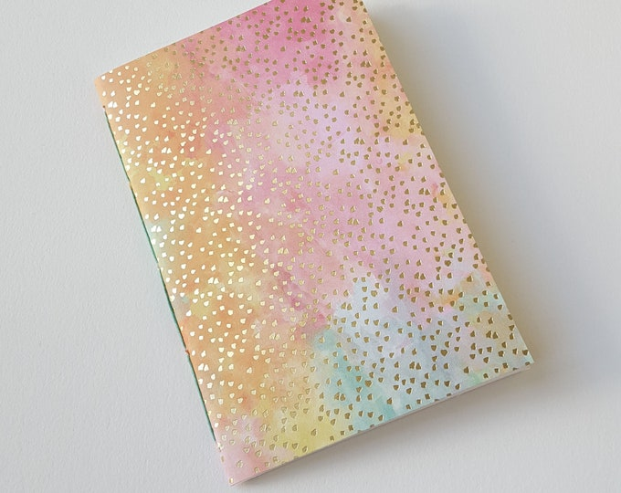 Goals Journal - #GOALS - Motivation Journal - Exercise Journal - Watercolor Design - Pastel Design with Gold Accents - Jotter