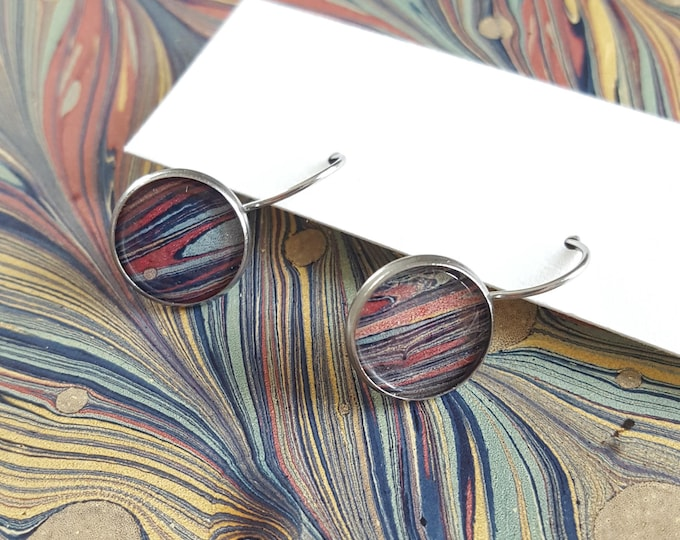 Marbled Paper and Stainless Steel Drop Earrings - Bookish Earrings - Marbled Dangle Earrings - Bookish Jewelry - Librarian Earrings