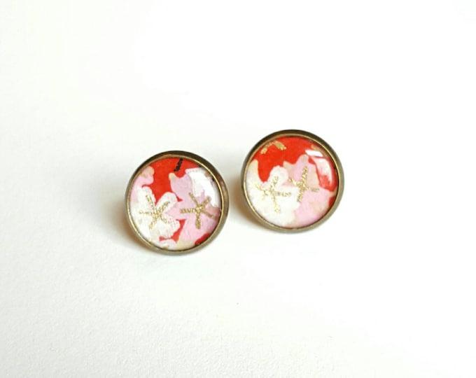 Washi Paper Earrings - Bookish Earrings - Japanese Paper Earrings - Bookish Jewelry - Librarian Earrings