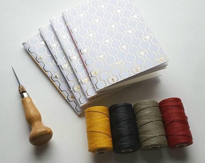 Honeybees Notebook - Golden Honeycomb Design - Journal - Pocket Notebook - Jotter - Gold Bees Design - Diary