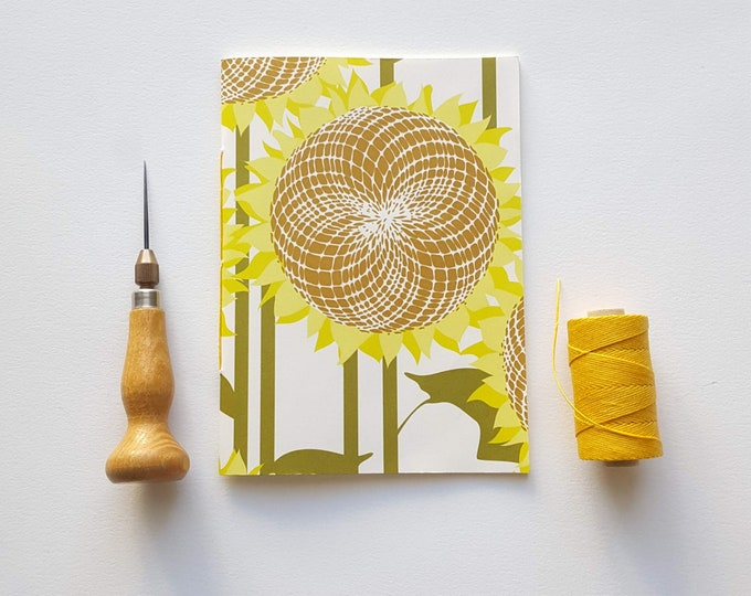 Modern Sunflowers Notebook - Sunflower Design Journal - Pocket Notebook - Jotter - Modern Design
