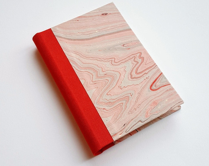 Pink, Red & Gold Marbled Journal - Shades of Pink, Red and Gray -  Marbled with Flecks of Gold Tone - Lined Journal - Diary - Travel Journal