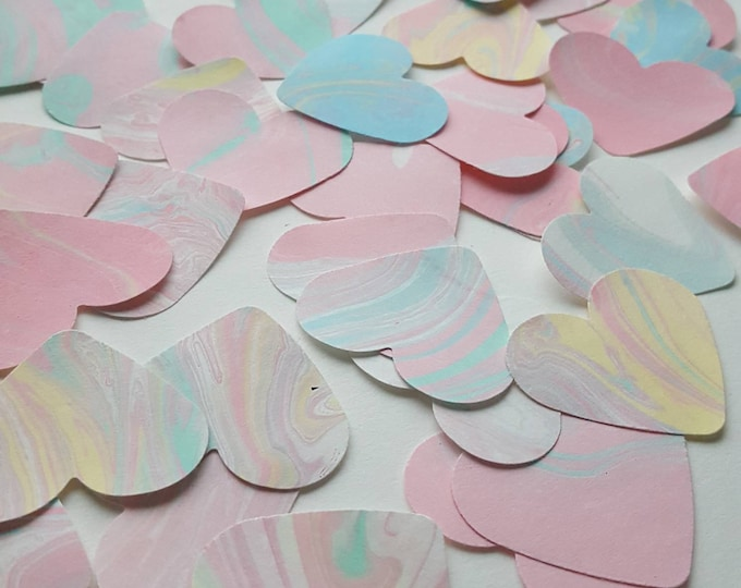 45 Pink Marbled Paper Hearts - Valentines Decoration - Valentines Supplies - Table Decoration