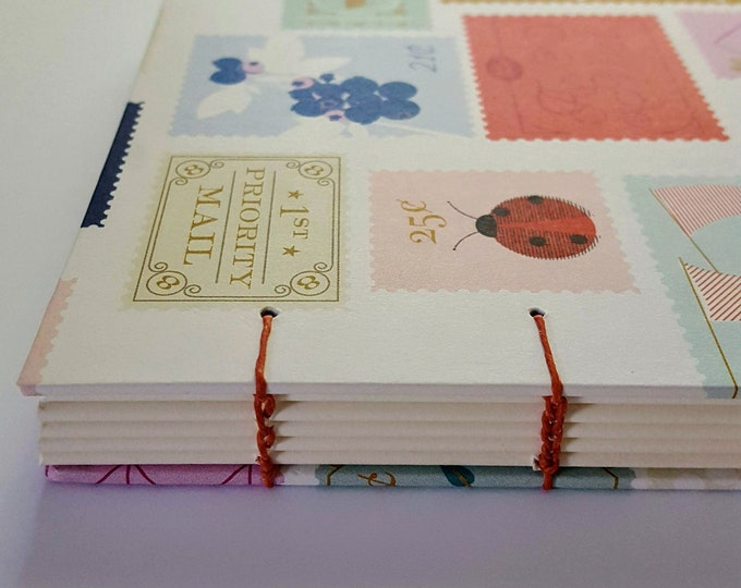 Travel Journal - Summer Writing Journal - Postage Themed Notebook - Coptic Journal - Pocket-Sized Travel Journal