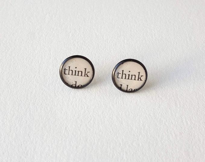 Think Earrings - Stainless Steel - Positivity Earrings - Bookish Earrings - Vintage Book Pages Paper Earrings - Librarian Earrings