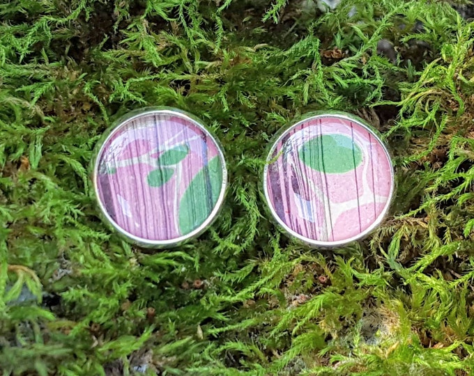 Marbled Paper Earrings - Bookish Earrings - Marbled Earrings - Bookish Jewelry - Librarian Earrings