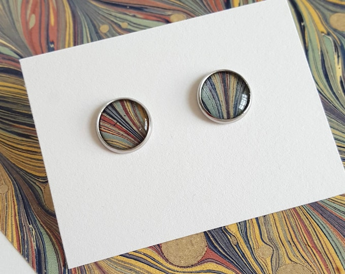 Marbled Earrings - Stainless Steel - Bookish Earrings - Marbled Paper Earrings - Librarian Earrings