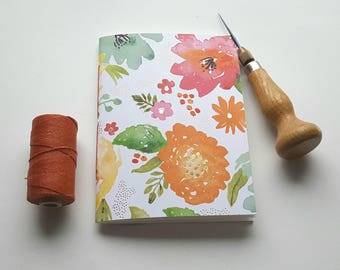 Watercolor Floral Notebook - Spring Design with Gold Accents - Journal - Pocket Notebook - Jotter - Floral Design - Diary