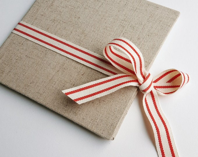 Ready to Ship - Single Disc - Natural Linen and Cotton Ribbon Custom CD / DVD Case