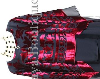 Maya Matazaro Layered Poncho Top Red Black Burnout Velvet & Chiffon Made In USA
