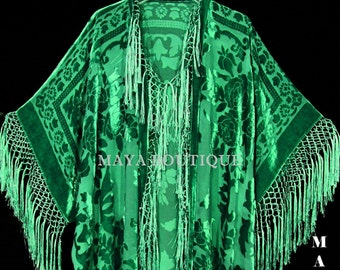Emerald Green Silk Burnout Velvet Fringe Jacket Kimono Duster Maya Matazaro Plus