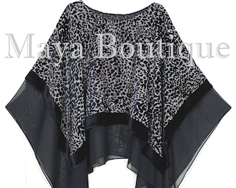Maya Matazaro Layered Poncho Top Animal Print Burnout Velvet & Chiffon USA Made