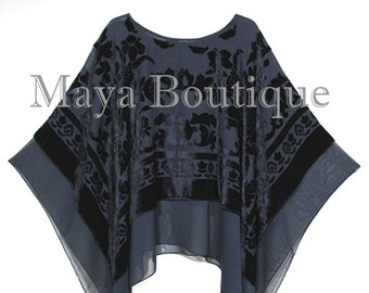 Maya Matazaro Layered Poncho Top Black Burnout Velvet & Chiffon Made In USA
