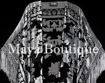 Silver Gray Caftan Duster Fringe Jacket Kimono Burnout Velvet Maya Matazaro