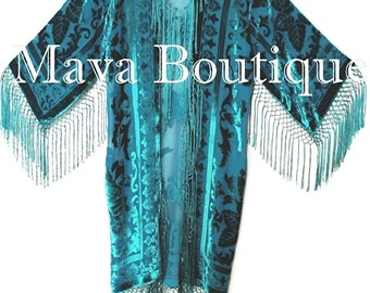 Turquoise Teal Silk Burnout Velvet Fringes Jacket Kimono Long Coat Maya Matazaro