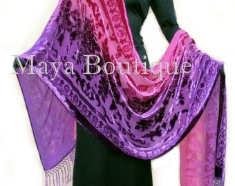 Huge Hand Dyed Maya Matazaro Silk Opera Shawl Wrap Scarf Magenta Purple Burnout Velvet Oblong XL 110""