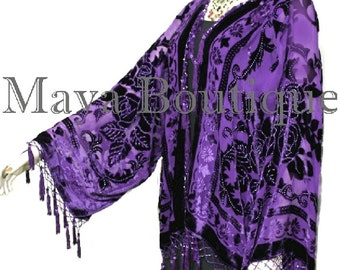 Dark Purple Beaded Kimono Fringe Jacket SILK Burnout Velvet Short Maya Matazaro Plus Size