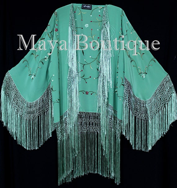 Huge Embroidered Silk Wrap Opera Shawl Scarf Turquoise Multi Maya Clothing New