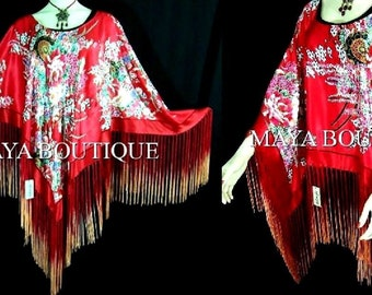 Stunning RED Dancing Fringes Silk Poncho Shawl Top MAYA MATAZARO