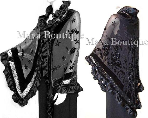 Huge Embroidered Silk Satin Wrap Opera Shawl Scarf Black Multi Floral Maya New