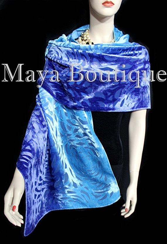 Hand Dyed Shawl Burnout Velvet Triangle Purple /& Blue Maya Matazaro