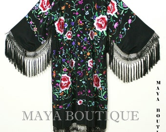 Embroidered Silk Fringe Jacket Flamenco Kimono BLACK & MULTI Maya Matazaro Long