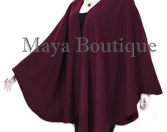 Bordo Cape Ruana Wrap Coat Cashmere Wool Blend by Maya Matazaro Made in USA