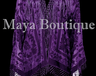 Dark Purple Kimono Fringe Jacket SILK Burnout Velvet Short Maya Matazaro Plus Size 3X-5X